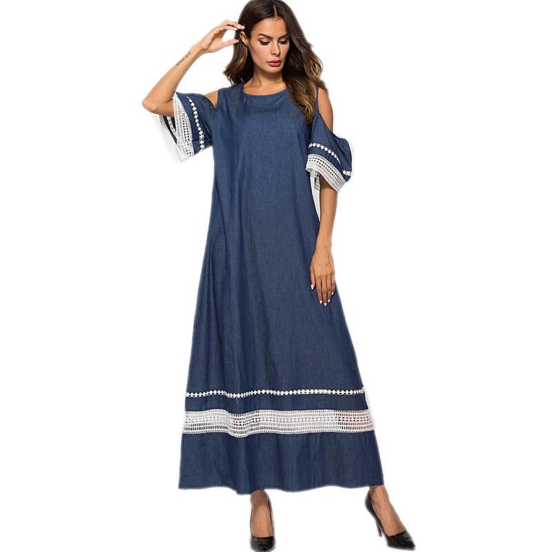 771c8d35447b YSMARKET Denim Maxi Dress Women Sexy Off The Shoulder Short Sleeve Summer  Long Dresses Muslim Clothing Mesh Patchwork E7005 Long Sleeve Dresses Blue  Dress ...
