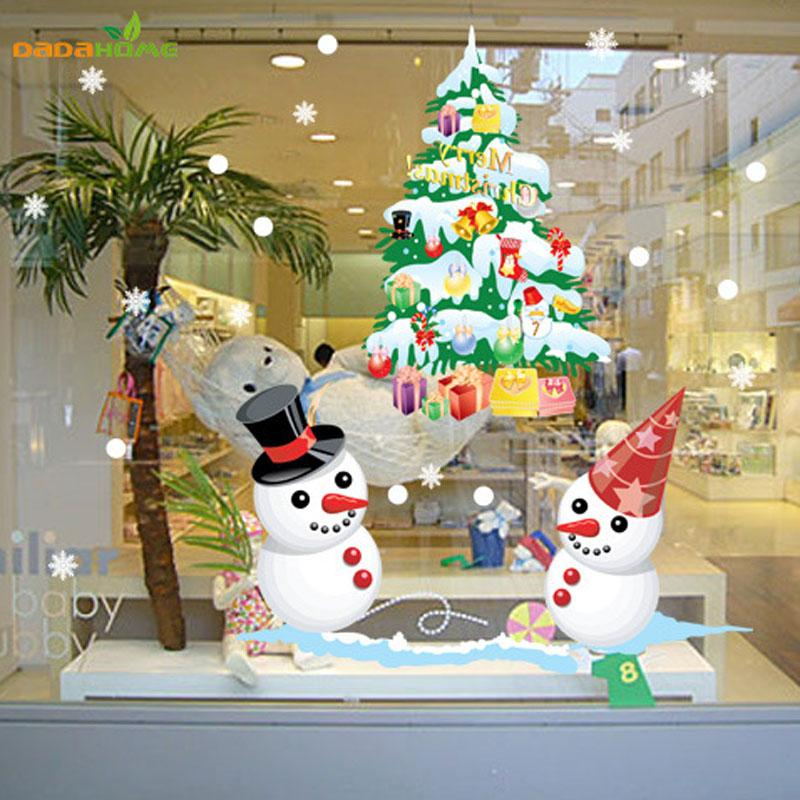 The New Shop Window Snowman Christmas Tree Christmas Wall Sticker Decorations For Home Window Sticker