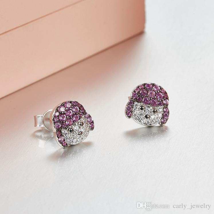 Jewelry S925 Sterling Silver Cubic Zircon Lovely Anima l Poodle Puppy C D E Style Dog Puppy Design Stud Earrings
