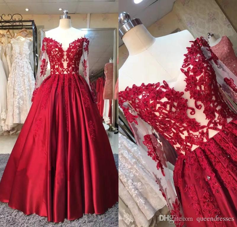 Modern Red Long Evening Dresses With Lace Long Sleeve Ball Gown Satin Beaded Floor Length Evening Gowns Formal Women Special Occasion Dress
