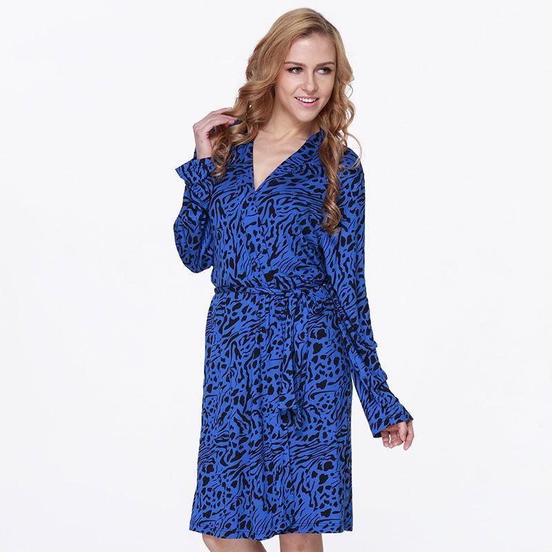 2018 Summer New Leopard Robe Kimono Bathrobe Women Nightgown Modal ...