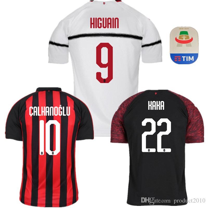 f03682f17 Compre 2018 2019 Melhor Qualidade AC Milan Adultos HIGUAIN Camisas De  Futebol Em Casa SUSO KAKA Futebol Jersey Milan Terceiro Homem Afastado  Camisa Esporte ...
