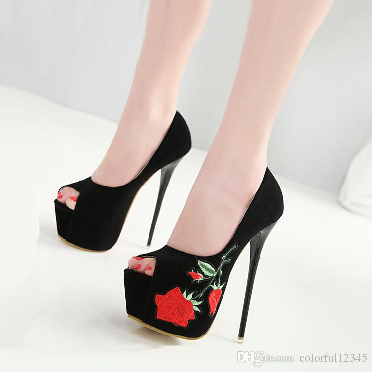821d38375 16cm Sexy Black Embroider Floral Platform Stiletto High Heels Pumps Faux  Suede 2018 New Size 34 to 40 High Heels Online with $37.01/Pair on  Colorful12345's ...