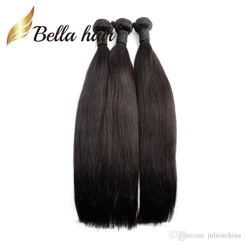 Bella Hair® Cheapest 4Bundles tessuto dei capelli umani brasiliano 7A Donor-Hair nero naturale 8-24 pollici di spessore coda liscia capelli lisci tesse