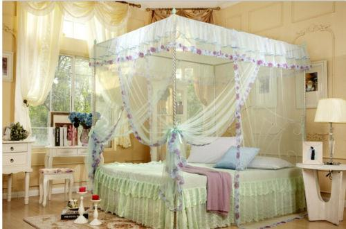 4 Corners Poster Canopy Curtain Mosquito Net Twin Xl Full Queen King No Bracket With 22mm Bracket Mosquito Repellent Products Outdoor Mosquito Trap From ... & 4 Corners Poster Canopy Curtain Mosquito Net Twin Xl Full Queen ...