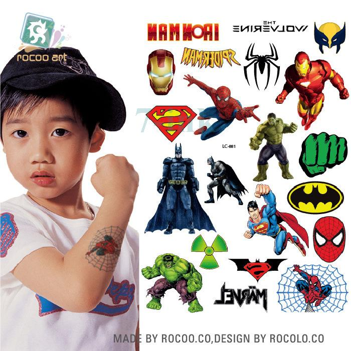 Waterproof Temporary Tattoo Cartoon Super Man Water Transfer Flash ...