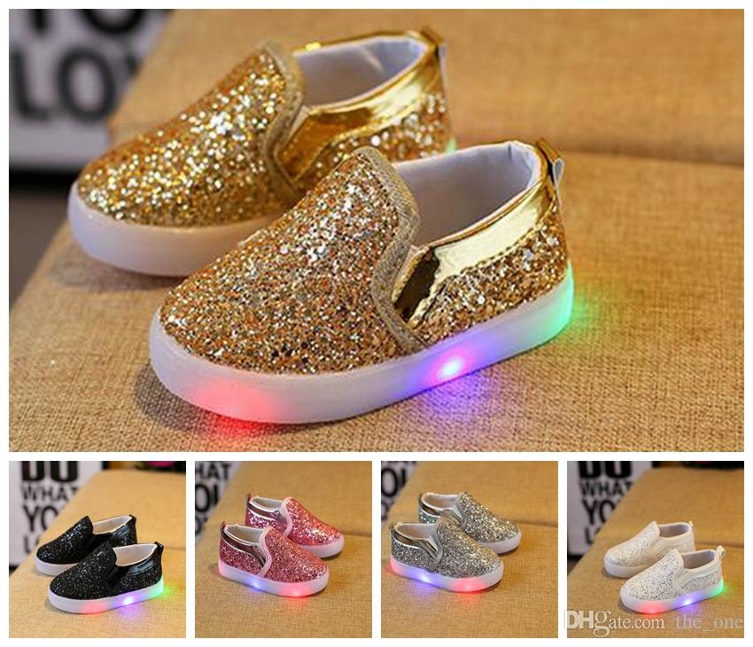 b6fcac1bbddc Kids Glowing Sneakers Baby Girls Boys LED Light Shoes Toddler Anti Slip  Glitter Sequins Sports Casual Shoes Kids Shoes Led Shoes Kids Sneakers  Online with ...