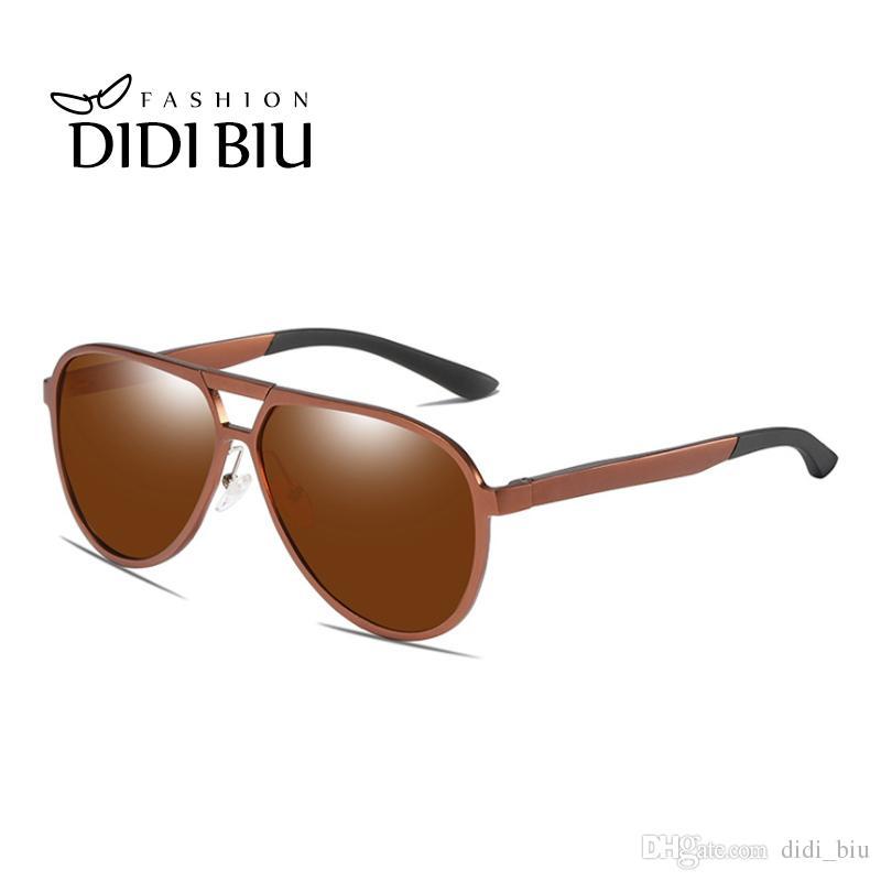 a558ad75ebcd5 Compre Polarizada Homens Militares Óculos De Sol Marrom De Alumínio Óculos  De Condução Óculos De Proteção Óculos De Marca Masculino Espelho De Alta ...