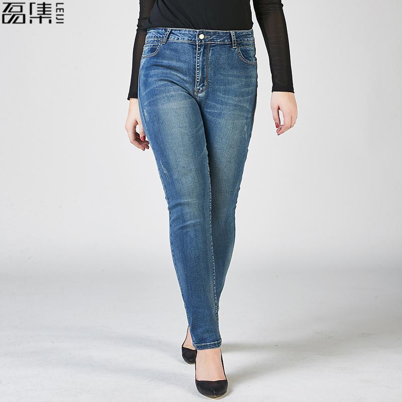 c1d52c6513 2019 2017 Autumn Jeans Woman High Waist Dirty Wash Plus Size Blue Full  Length Elasticity Pencil Pants For Women 100kg From Michalle