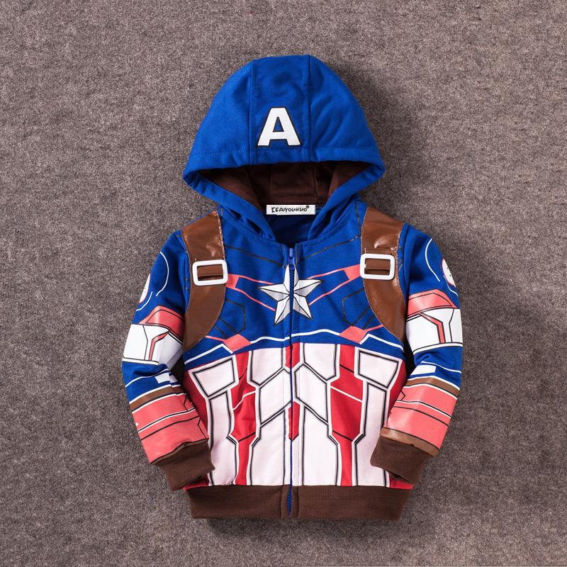keaiyouhuo 2017 Autumn Winter Costumes Avengers Boys Jacket For Boys Hooded Jackets Kids Warm Outerwear Coat Children Clothes