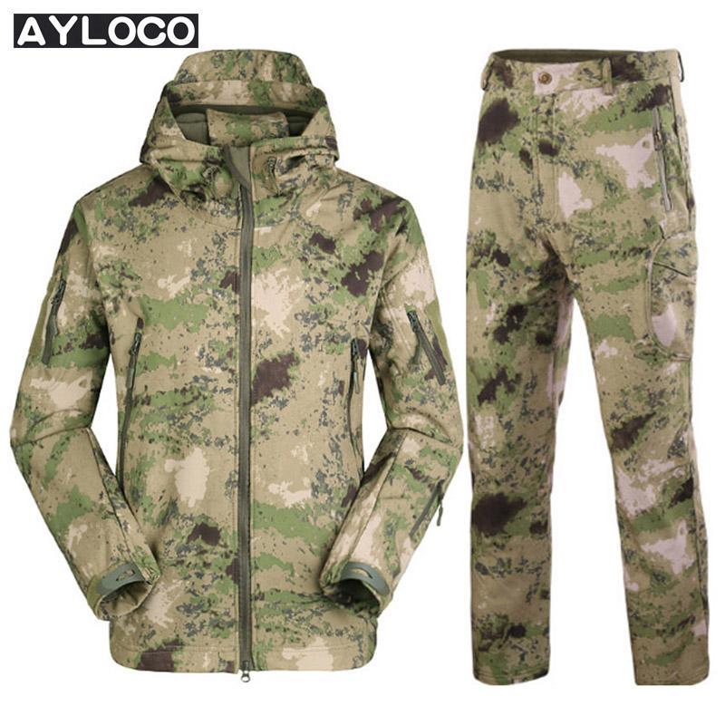 Army Camouflage Men Jacket Coat Military Tactical Jacket Windbreaker Raincoat Hunt ClothesWinter Waterproof Jacket+uniform pants