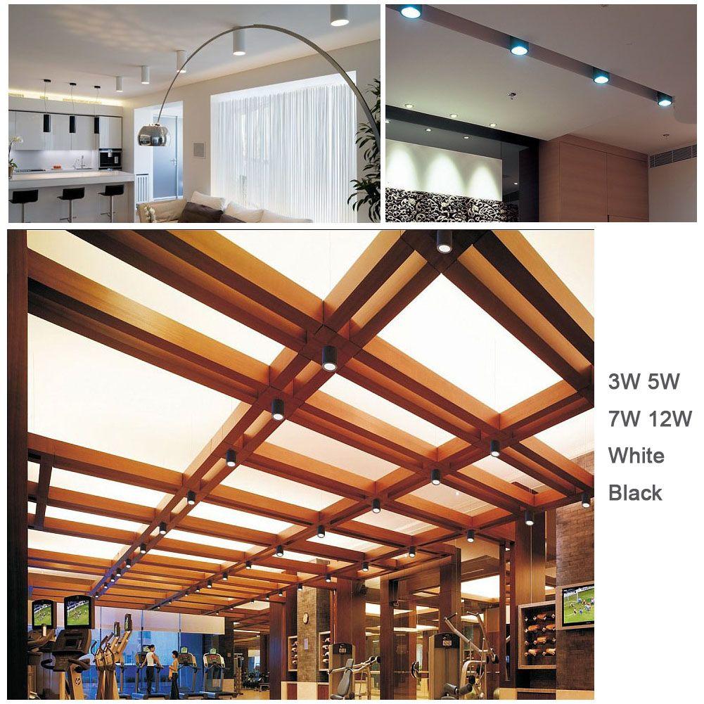 LED Downlights 3 W 5 W 7 W 12 W Ronde Surface Monté Plafonniers Lampes Spot Light Blanc Noir AC85-265V Pure Nature Blanc Chaud