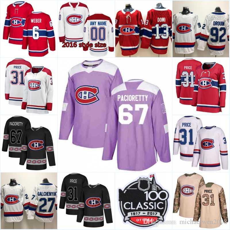 92c052339 New Season Montreal Canadiens 6 Shea Weber 37 Antti Niemi 31 Carey Price 41  Paul Byron 24 Phillip Danault 13 Max Domi Hockey Jerseys UK 2019 From ...