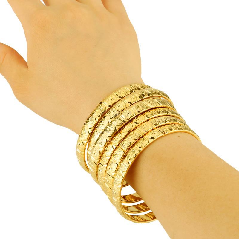 Ethiopian Jewelry Gold Color Bangles Dubai Gold Jewelry Bangles For African Bangles & Bracelets for Women Gifts