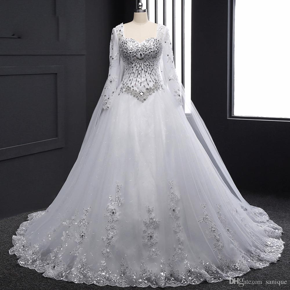 Discount Real Sample 2018 New Bandage Tube Top Crystal Luxury Wedding Dress  2018 Bridal Gown Wedding Dresses Long Sleeve Wedding Dress Es A Line Wedding  ... e9932a90ddc1