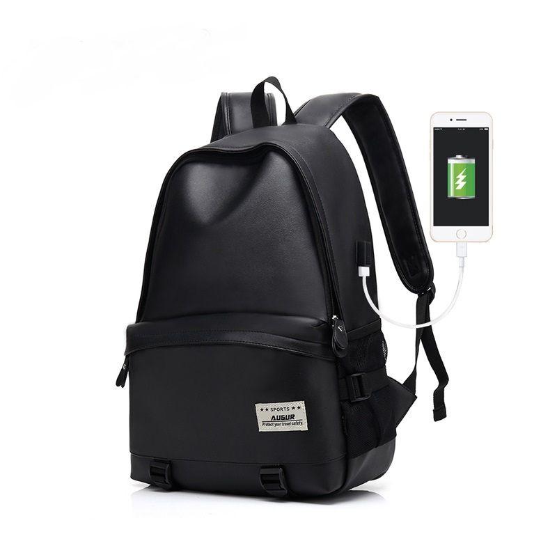 AUGUR Men Backpacks PU Leather USB Charging Travel Waterproof Laptop  Teenager Student School Bag Backpacks Male Casual Travel Women Teenager  Hydration ... a66bc266dde61