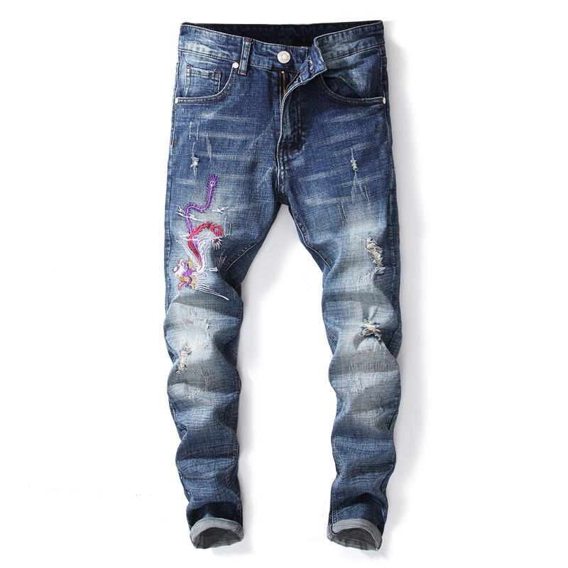 53e5d41657d3a2 Fashion 2018 Jeans Men Embroidery Hip Hop Distressed Korean Biker ...