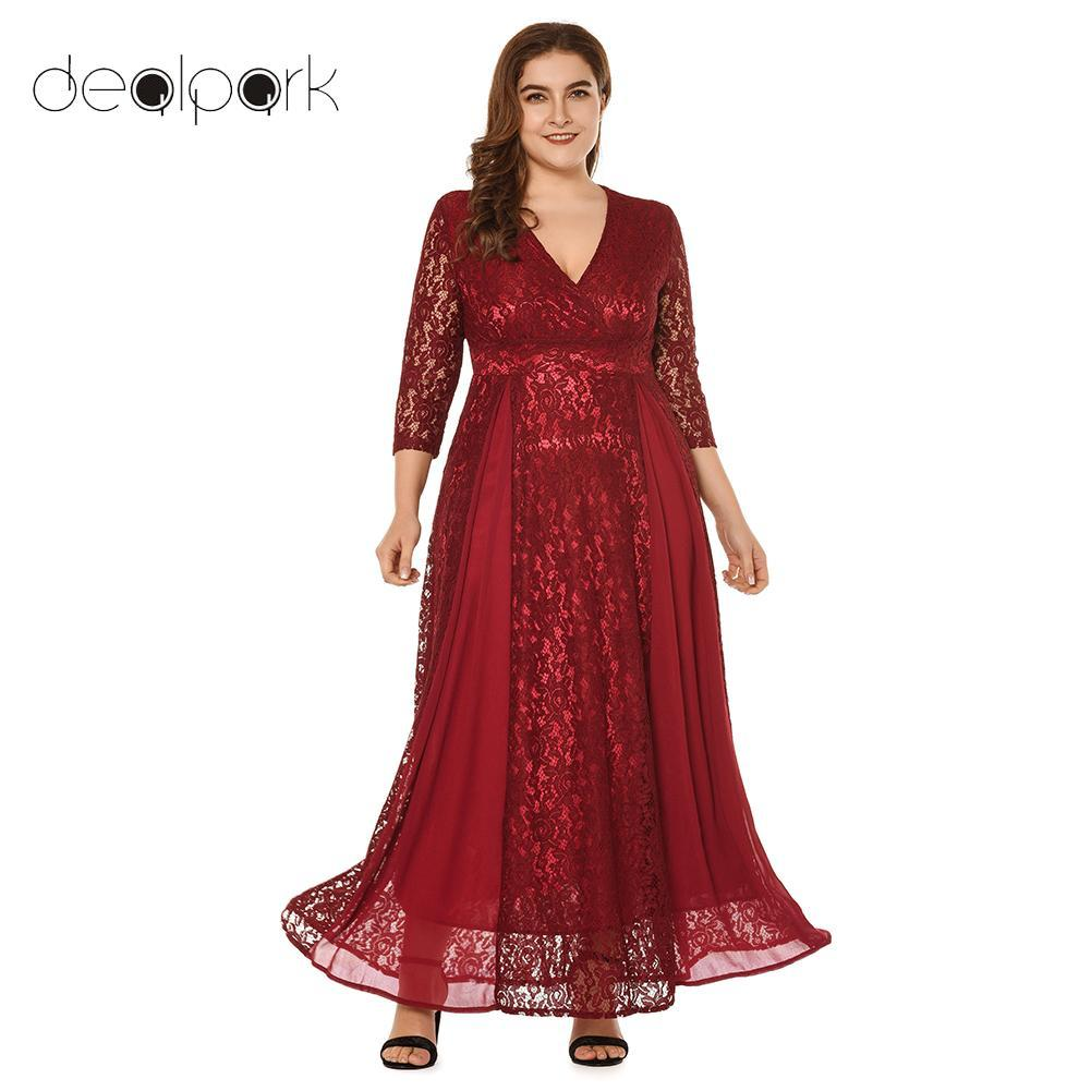 e74f8fecf71bc 3XL 4XL 5XL Plus Size Lace Dresses for Women Party Dresses female Mesh Lace  Splicing High Waist Elegant Ladies clubwear