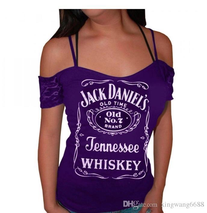Hot Sexy T Shirt Blouses Femmes D'été 2018 Casual Jack Daniels Imprimer Tops Dames Club T-shirts Violet Femme 4XL Livraison Gratuite