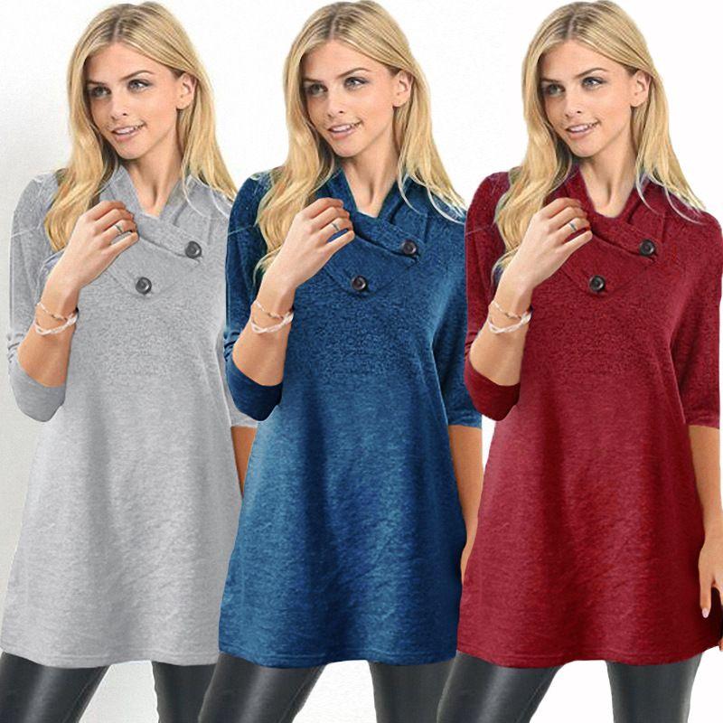 da0e7b87b7 2 estilos botão de Gola alta blusa T-shirt jaqueta de Manga Longa moda  senhora Inverno t-shirt Tops casa esporte ao ar livre roupas FFA1308 12 pcs