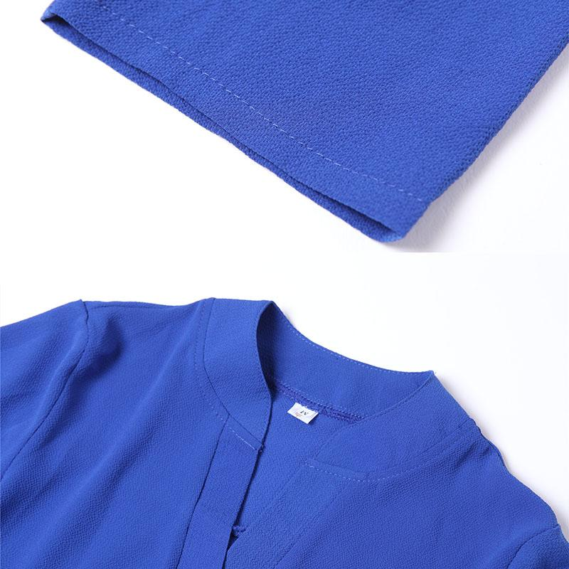 VogorSean Printemps Automne Femmes Blouse Chemise Tops Casual En Mousseline de Soie Blusas Femme V-Neck Bureau Lady Pour Le Travail Femmes 9/10 Manches Nouveau