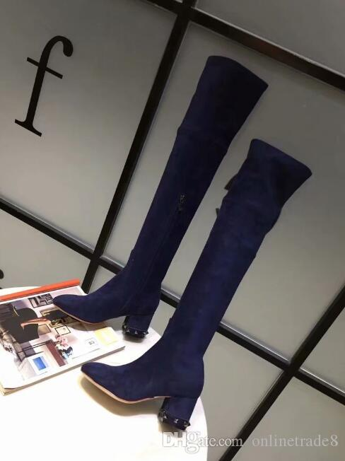 f88c1f0a8 Fashion Branded Rivtes Elastic Long Boots Comfortable Pointed Toe Chunky Heels  Boots Sexy Thigh High Women Boot Boots Online Leather Boots From  Onlinetrade8 ...