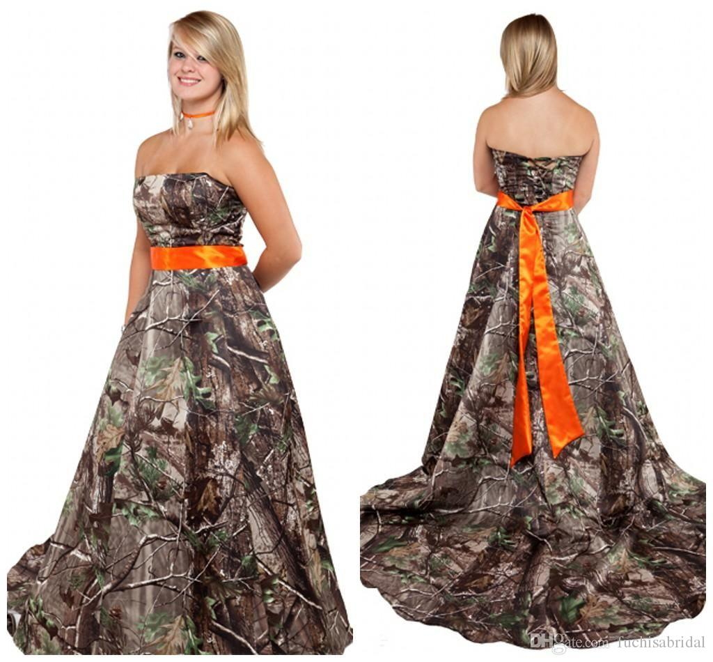 Camouflage Wedding Gowns: Strapless Camo Wedding Dress With Orange Sash Corset Back