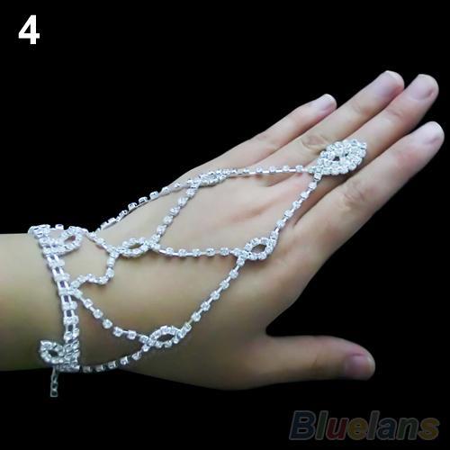 Bracelets De Mariage De Mariée Cristal Strass Bracelet Esclave Harnais De Bracelet De Manchette pour les femmes 1GTH