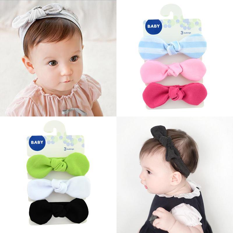 Kids Bowknot Headband Hair bands Turban Rabbit Headwear With Card Girls Hair Accessories Elastic Hair Bands 749