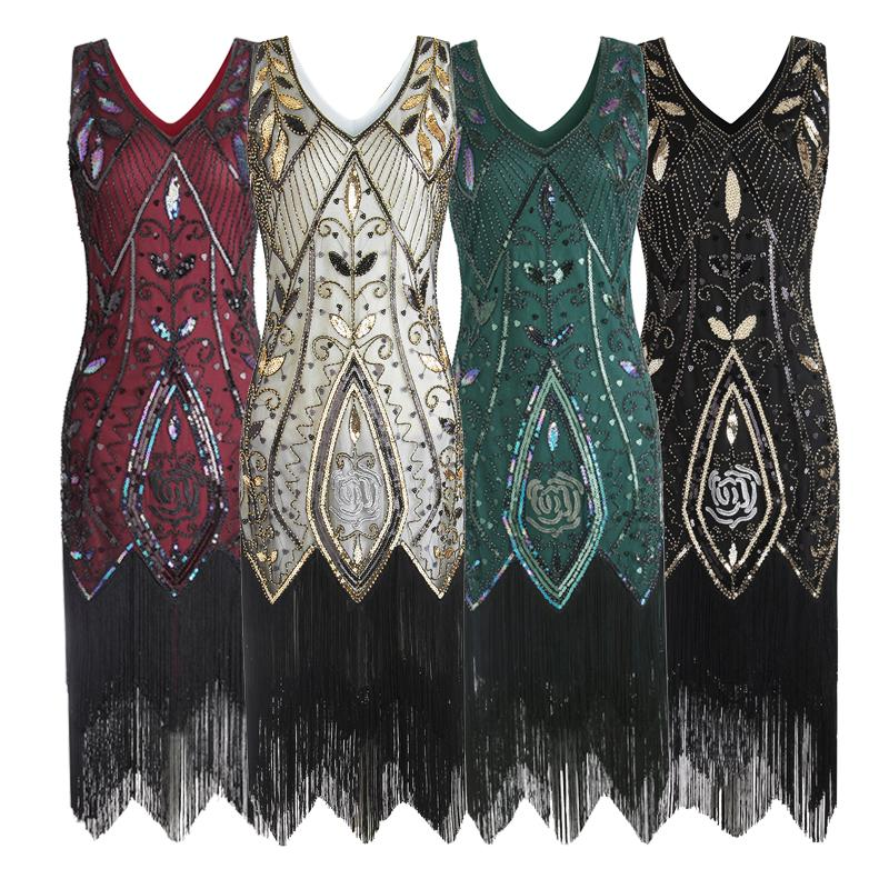 79681dd8f07 2019 Women 1920s Flapper Dress Gatsby Vintage Plus Size Roaring 20s Costume  Dresses Fringed For Party Prom From Rykeri