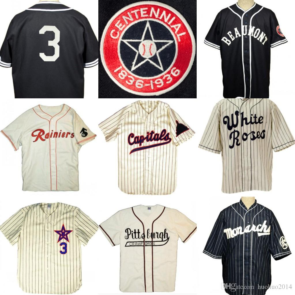 Custom Kansas City Monarchs Pittsburgh Crawfords Hollywood Stars York White Roses Raleigh Capitals Beaumont Exporters Retro Baseball Jersey