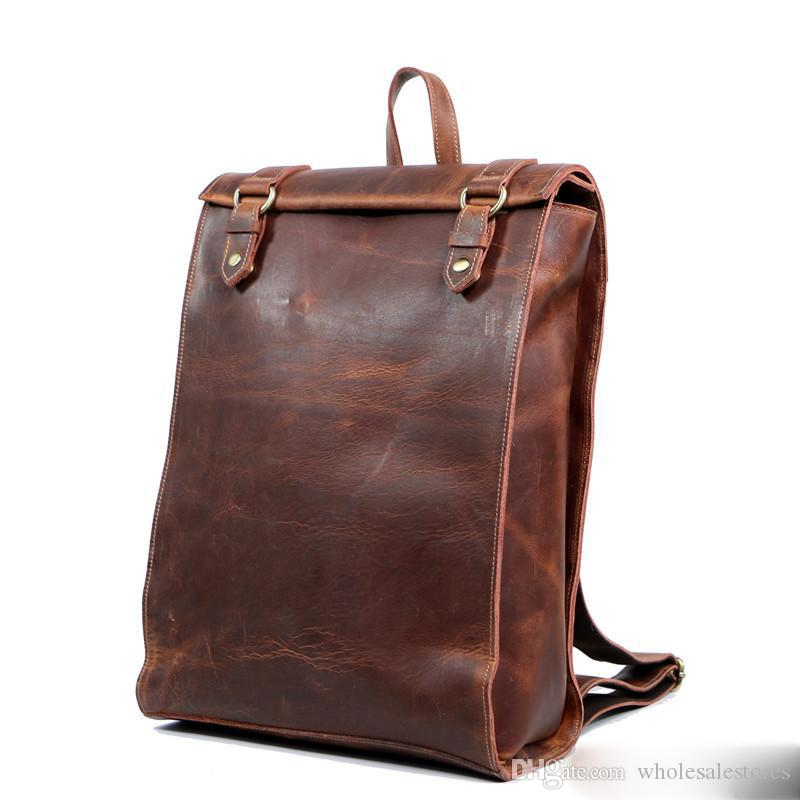 Estalló el nuevo bolso de los hombres bolso retro de los hombres bolsos de los hombres personalizados cuero hecho a mano mochila cuero caballo salvaje envío gratis