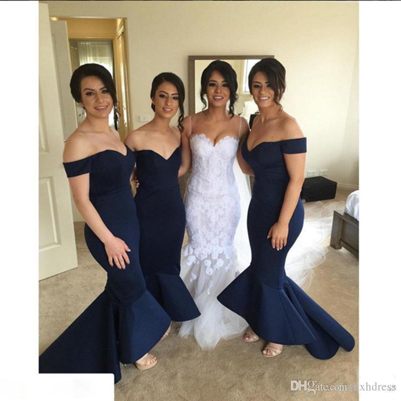 Koyu Lacivert Nedime Elbisesi Zarif Mermaid Kapalı Omuz Backless Uzun Kadınlar Örgün Onur Hizmetçi Elbise Giymek Için Düğün Konuk Elbisesi