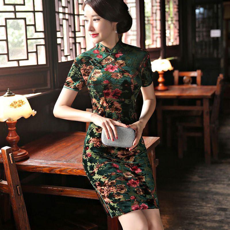 fe837a5fa2f5c Charming Retro Chinese Women Autumn Winter Velour Cheongsam Dress  Cheongsams Dresses for Women Lady QiPao Short Party Wear