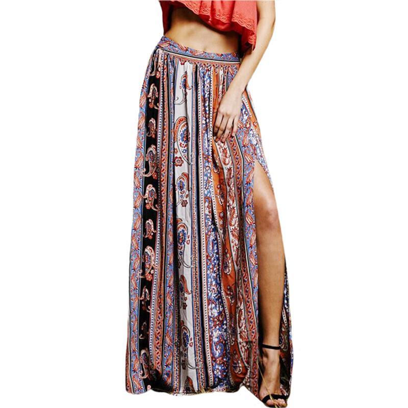 baa3f06c6e Long Skirt Bohemian Skirts Womens Elegant Printed Ethnic Style Female Saia  Femininas Plus Size Side Split Long Skirt KH869706 Online with $31.22/Piece  on ...