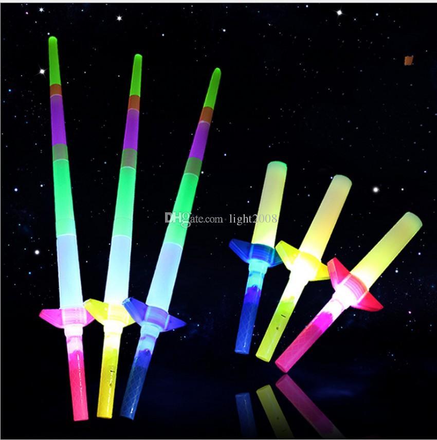Marca nuevo precio bajo telescópica Palillos del resplandor de luz de flash para arriba el juguete fluorescente Espada concierto de Navidad Carnaval Juguetes / liberan el envío