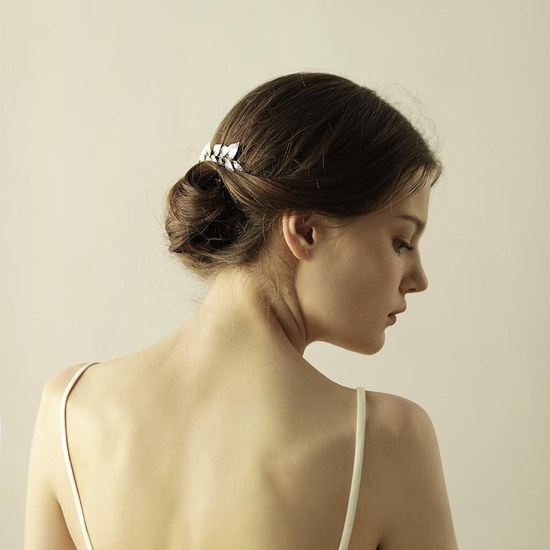 Dower me Silver Leaf Long Hair Comb Wedding Hair Vine Accessoires Vintage Bridal Headband Jewelry Women Headpiece