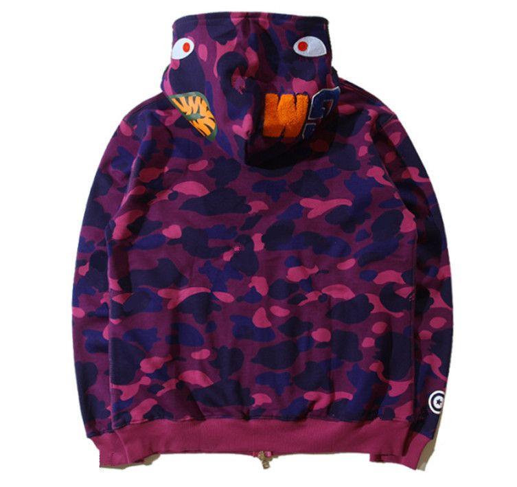 Yeni Erkek Kadın Severler Sportwear Coat Jogger Eşofman Fermuar Polar Kazak Kamuflaj Kuş Ovo Drake Siyah Hip Hop Hoodie Erkekler Köpekbalığı Ağız