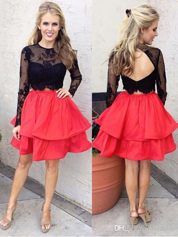 Black Red 2018 Two Pieces Homecoming Dresses A Line Jewel Neck Long Sleeve Short Mini Lace Backless Elegant Cocktail Dresses