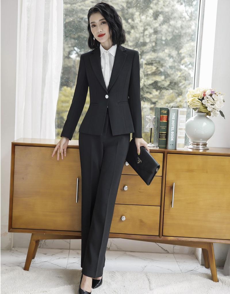 8941f97f2340 Neue 2019 formale Damen Schwarz Blazer Frauen Anzüge mit Hose und Jacke Set  Arbeitskleidung Büro Uniform Styles
