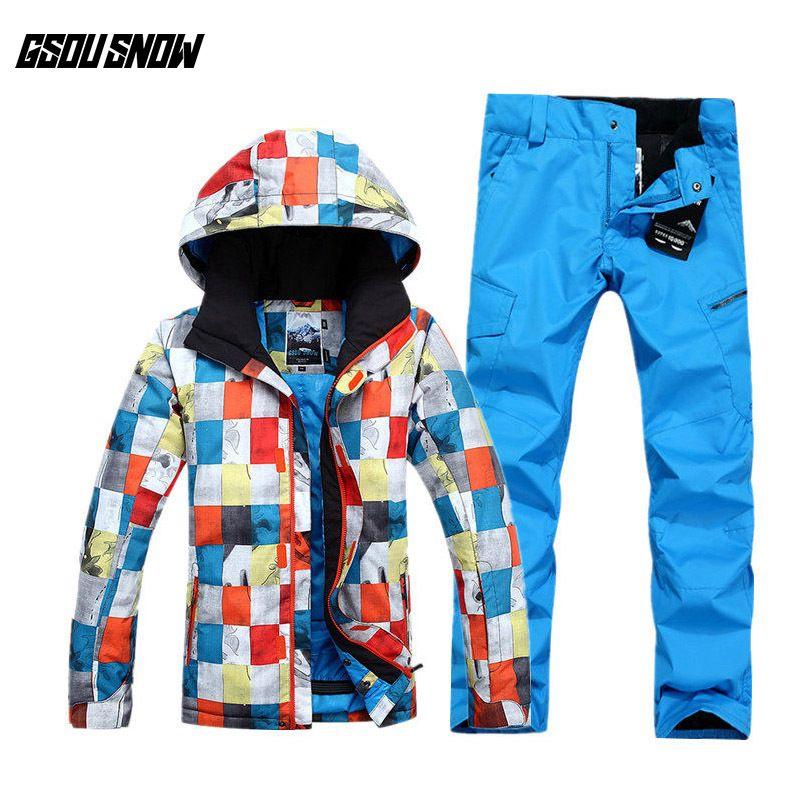 f437c631682e8 Compre GSOU SNOW Marca Traje De Esquí Hombres Chaquetas De Esquí Pantalones  Chaquetas De Snowboard Baratos Pantalones Trajes De Esquí Impermeables De  ...