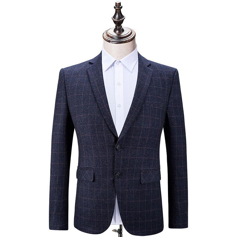d82de1e5df321 Compre Trajes Formales Para Hombres De Negocios De Alta Calidad Casual  Vestido De Caballeros Hombres Chaqueta Azul Marino Trajes De Moda Masculina  Delgado ...