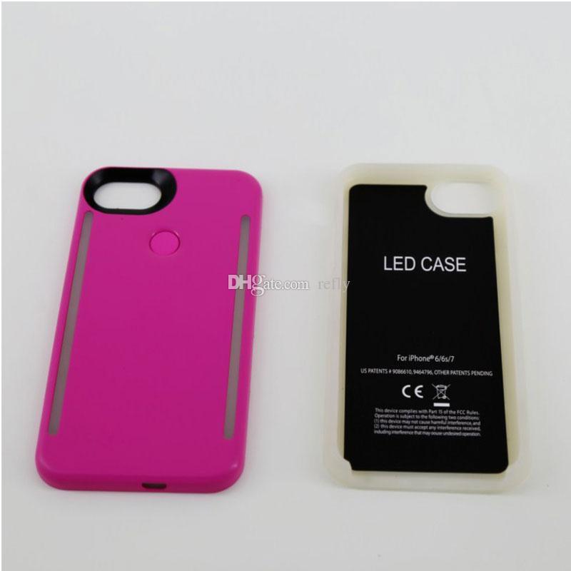 Le téléphone léger de LED enferme la caisse de batterie légère de côtés de téléphone pour l'iPhone X 8 7 6 6s plus S7 S8 avec le paquet au détail
