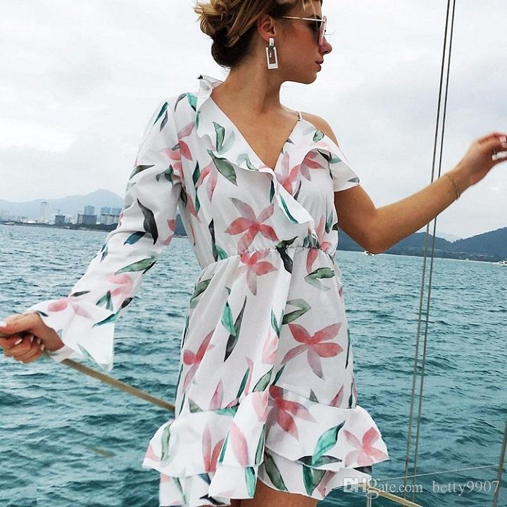dcb4bccc1e Summer Bohemian Dresses Plus Size Women Clothes One Shoulder Ruffle Floral  Print New 2018 V Neck Knee Length White Chiffon Mini Party Dress Plus Size  Prom ...