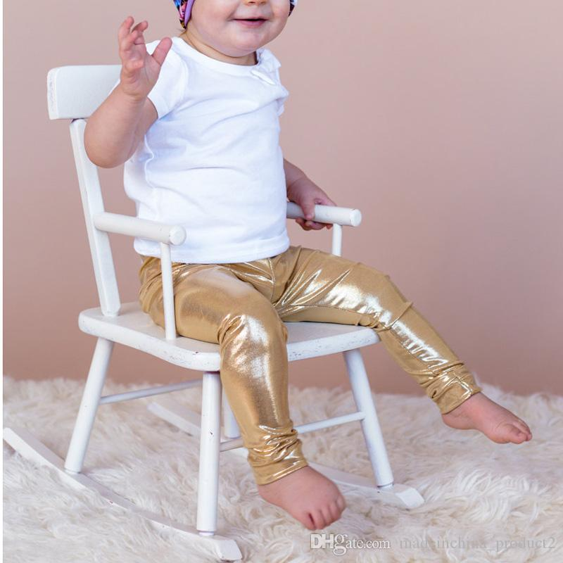 Spring Baby Pants Golden Silver Black Boys Girls Leggings European and American Style Children Trousers Clothing