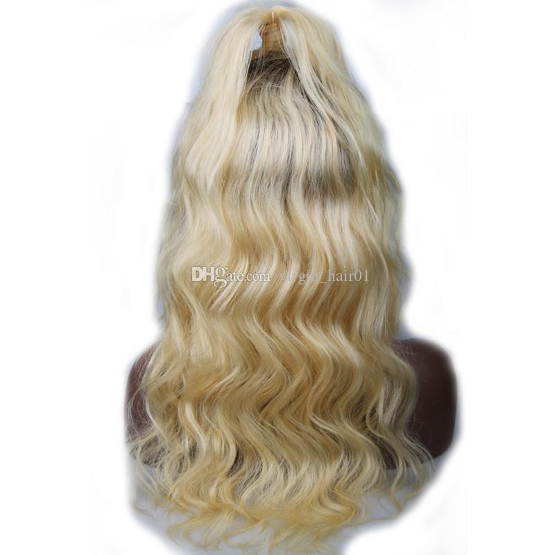 1b 613 شقراء الجسم موجة الشعر البشري الباروكات طبقتان الأسود إلى شقراء كامل الدنتلة # 613 شعر الإنسان غلويليس الباروكات سريع مجاني