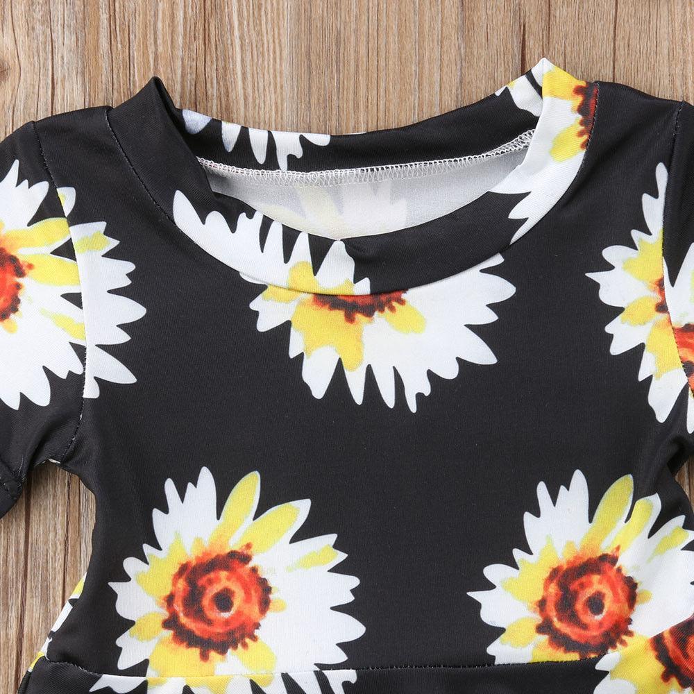 e40a06ae7 2018 Latest Children's Wear Newborn Infant Baby Girls Floral Clothes Summer Dress  Sunflower Dress Headband 2Pcs Sundress 0-24M