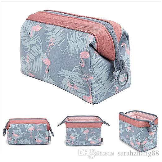 6bd79b4b687a Multi-functional Makeup Bag Case Light Blue Flamingo Brush Organizer Clutch  Purse Travel Bag