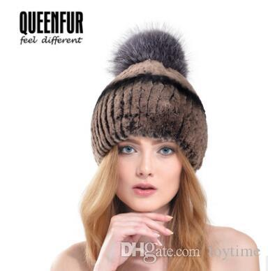 fa936b6ccac Wholesale QUEENFUR Women Fashion Real Rex Rabbit Fur Hat With Silver Fox Fur  Big Pom Poms Beanies 2018 Winter Warm Thick Rabbit Fur Caps Beanies For  Girls ...