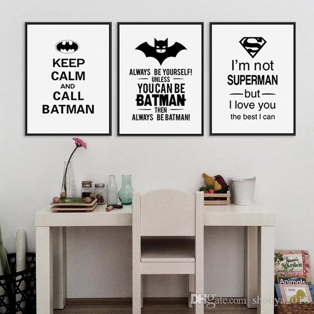 شحن مجاني حار بيع خارقة باتمان الفن يطبع المشارك أسود أبيض الطباعة يقتبس الجدار صورة ل غرفة الاطفال طفل رضيع ديكور المنزل جدارية